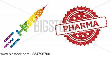 Express Vaccine Collage Icon Of Circle Dots In Various Sizes And Lgbt Bright Color Tones, And Pharma