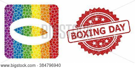 Gold Ring Mosaic Icon Of Spheric Dots In Various Sizes And Lgbt Bright Color Tinges, And Boxing Day
