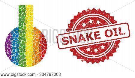 Glass Flask Mosaic Icon Of Filled Circle Dots In Different Sizes And Spectrum Colored Color Tints, A