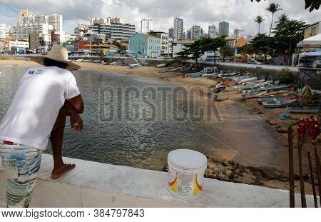 Salvador, Bahia / Brazil - February 3, 2017: View Of Paciancia Beach In Rio Vermelho Neighborhood In