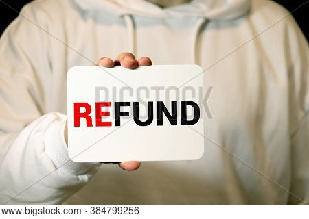 Words Refund On Copybook Page, Business Concept.