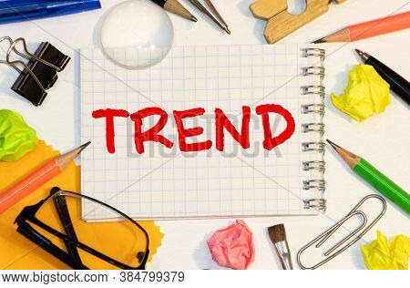 Trend Word Inscription On Craft Paper On Natural Linen Cloth. Cloth Trends. Fashion Trends. Natural