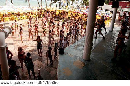Porto Seguro, Bahia / Brazil - February 24, 2009: Tourists Are Seen Dancing In Choreography With Ax