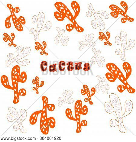 Cactus On A White Background.cactus Vector Pattern
