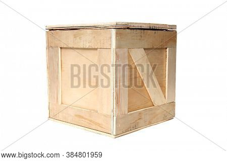 Wooden Shipping Crate. Wooden Box used to ship goods and products world wide. Isolated on white. Room for text.