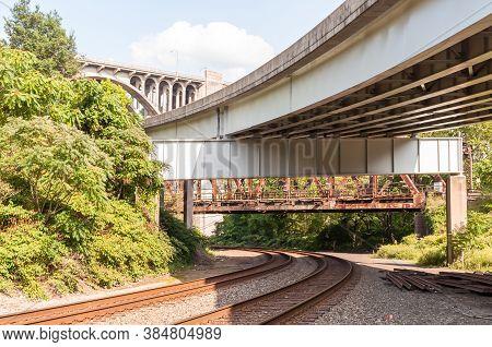 Railroad Tracks Under Three Bridges, An Old Rusted Railroad Bridge, The Braddock Avenue Overpass And