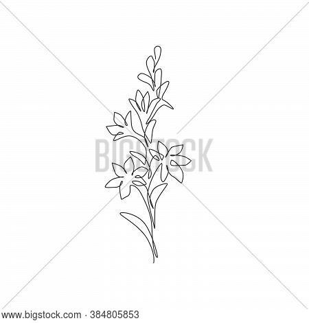 One Continuous Line Drawing Beauty Fresh Polianthes Tuberosa For Home Decor Art Wall Poster Print. D