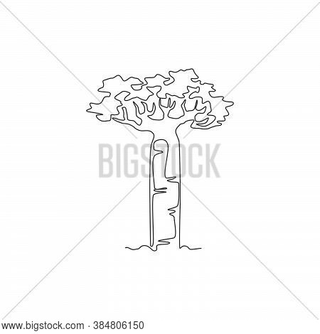 Single Continuous Line Drawing Giant Baobab Tree For Wall Decor Poster. Gigantic Plant Concept For N