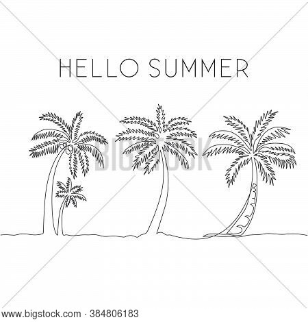 Single One Line Drawing Of Coconut Tree. Decorative Cocos Nucifera Palm For Hello Summer Greeting Po