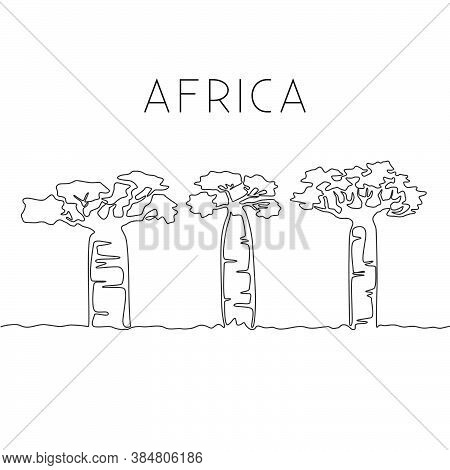 One Continuous Line Drawing Of Big Baobab Tree. Decorative Adansonia Digitata Plant For Home Wall De