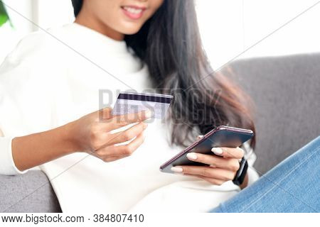 Online Phone Payment By Credit Card At Home, Asian Woman Using Mobile Phone Make Digital Money Payme