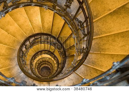 Spiral Staircase And Stone Steps In Ancient Tower