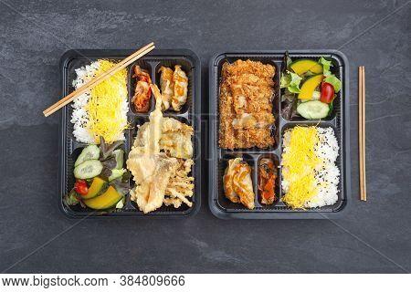 Japanese Tempura And Tonkatsu Bento Set