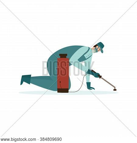 Pest Exterminator Or Pest Control Worker Flat Vector Illustration Isolated.