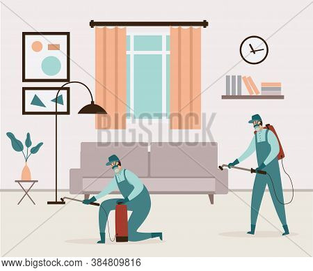 Exterminators Of Insects Working In House Interior Flat Vector Illustration.