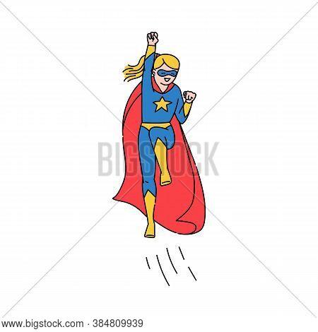 Superhero Girl Or Woman Character Sketch Cartoon Vector Illustration Isolated.
