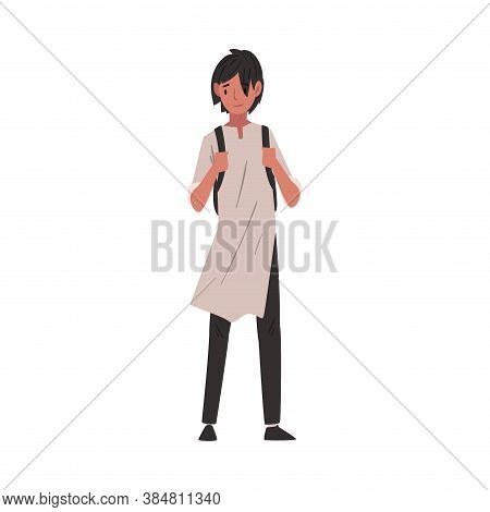 Guy In Casual Clothes Standing With Backpack, International College Or University Student Character