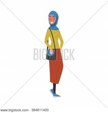 Muslim Girl In Casual Clothes Standing With Bag, International College Or University Female Student