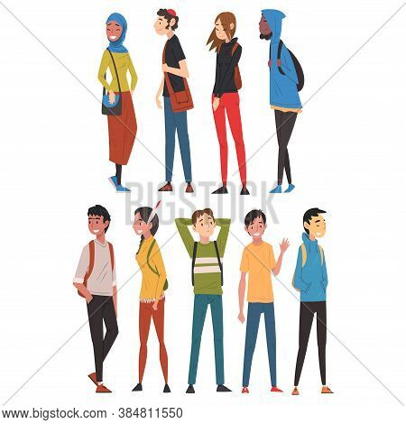 Cheerful Guys And Girls In Casual Clothes Collection, International College Or University Students C