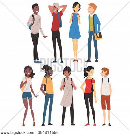 Collection Of International College Or University Students Characters, Cheerful Guys And Girls In Ca