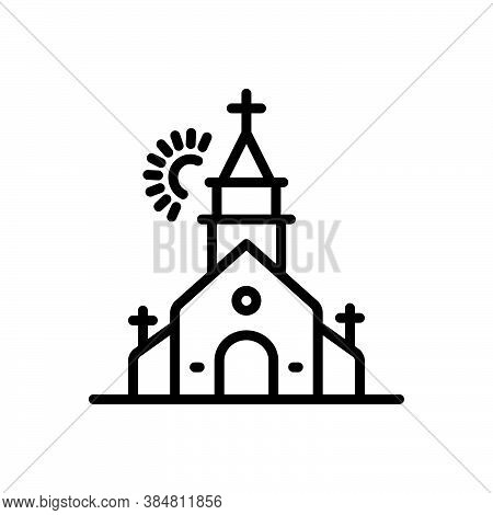 Black Line Icon For Church House-of-god Place-of-worship Fane House-of-worship Faith Religion Christ
