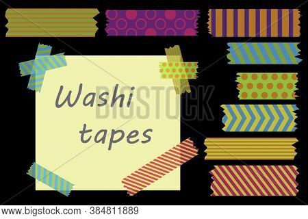 Colored Adhesive Tape. Scotch Strips. Torn Pieces Of Tape. Vector Illustration.