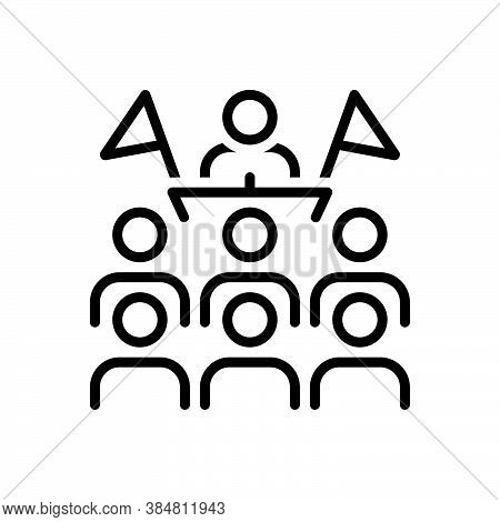 Black Line Icon For Convention Orator Conference Gathering Assembly Protocol Meeting People-flock