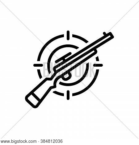 Black Line Icon For Hunting Hunt Shooting Shotgun Gun Gun Musket Rifle Equipment Ammunition Target