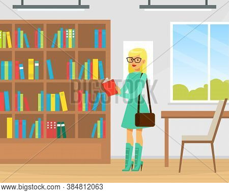 Student Girl Choosing Book In Library, Library Interior With Books On Wooden Bookshelves Flat Vector