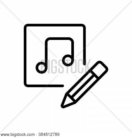 Black Line Icon For Thus Consequently So Music Edit Pencil Symphony