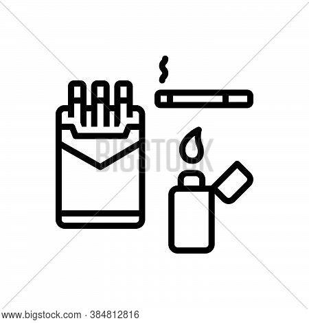 Black Line Icon For Cigarette Fag Smoke Lighter Fume Tobacco Unhealthy Cancer-stick