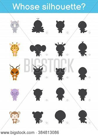 Whose Silhouette Game Template. Matching Game For Children With African Cartoon Animals. Kids Activi