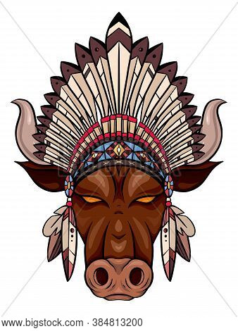 Coloring Illustration Of A Bull Head With Indian Roach. The Symbol Of The New Year 2021. Contour Col