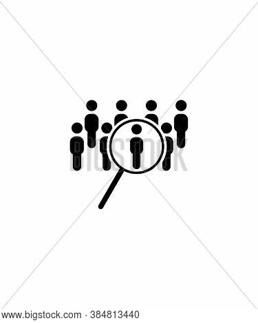 Identify Icon,magnifying Glass With People,vector Best Flat Icon.