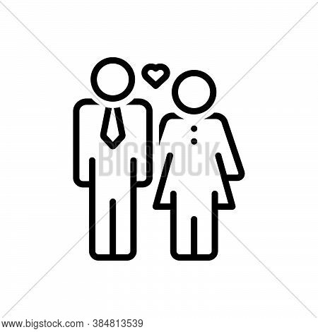 Black Line Icon For Husband Spouse Man Partner Yokefellow Hubby Married-man Couple Woman