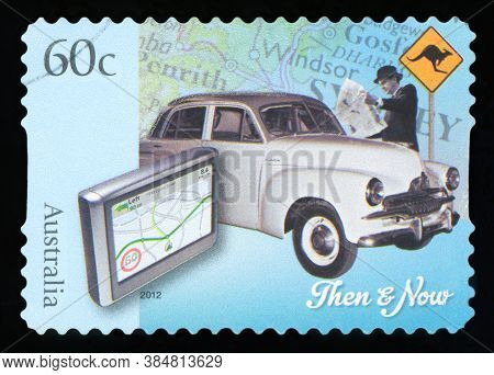 Australia - Circa 2012: A Stamp Printed In Australia Dedicated To Technology - Then And Now, Circa 2