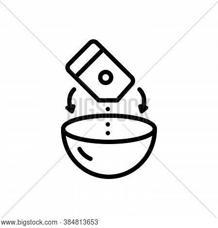 Black Line Icon For Mixture Soup Combination Pour Bowl Product Blend Admixture