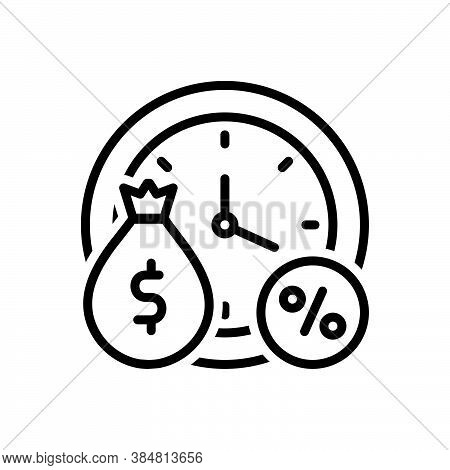 Black Line Icon For Interest Finance-interest Banking Loan Currency Benefit Commercial Finance Perce
