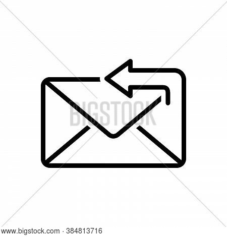Black Line Icon For Reply Answer Response Retort Reply Arrow App Mail Message Envelope