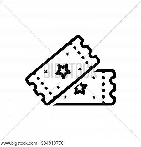 Black Line Icon For Ticket Pass Raffle Event-pass Sticker Voucher Talon Coupon Entry Cinema Concert
