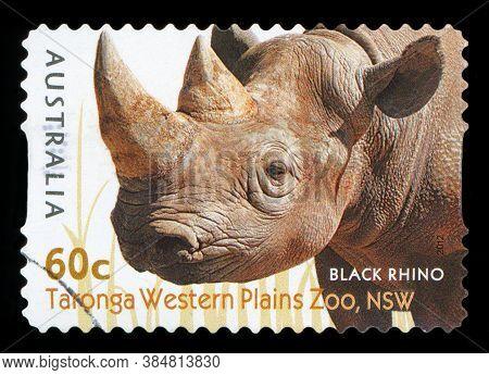 Australia - Circa 2012: A Stamp Printed In Australia Shows The Black Rhino From Taronga Western Plai