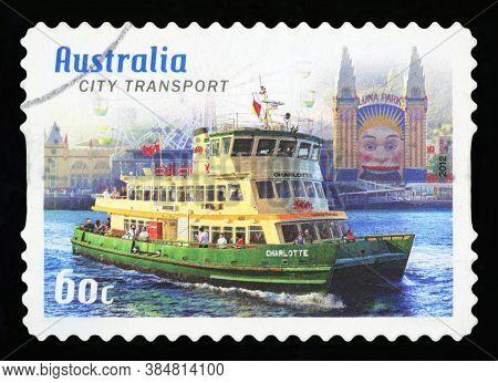 Australia - Circa 2012: A Stamp Printed In Australia Shows The City Transport, Sydney, 2012, Series,