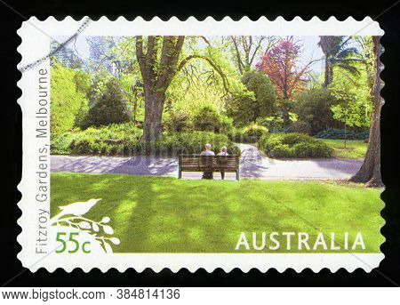 Australia - Circa 2009: A Used Postage Stamp From Australia, Depicting An Image Of Fitzroy Gardens I