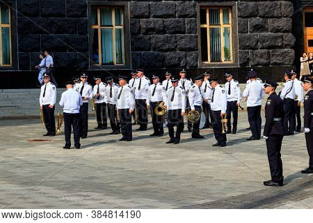 Kiev, Ukraine - August 23, 2019: Police Orchestra Near The Building Of Cabinet Of Ministers During T