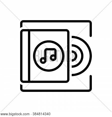 Black Line Icon For Album Record Music Acoustic Disc Classical Musical Note Symphony