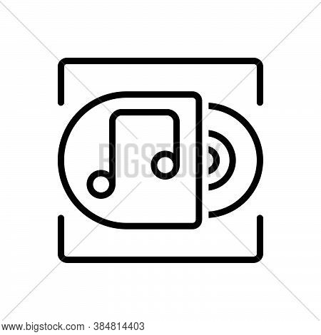 Black Line Icon For Album Record Music Acoustic Disc Classical Musical Note Symphony Song