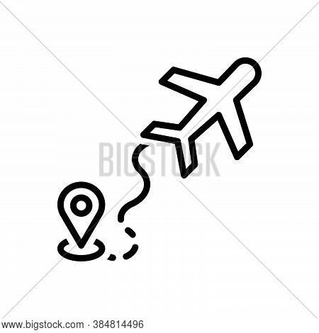 Black Line Icon For Airline Airway Skyway Tour Journey Airline Air-highway Navigation Map Air-route