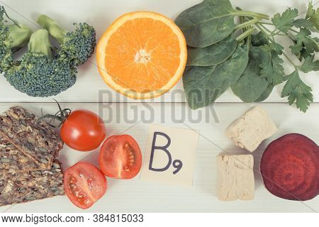 Nutritious Ingredients Containing Vitamin B9, Natural Minerals And Folic Acid, Healthy Nutrition Con
