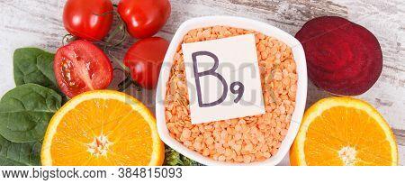 Nutritious Food As Source Vitamin B9, Dietary Fiber, Folic Acid And Natural Minerals, Concept Of Hea