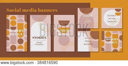 Modern Web Banner For Social Media Mobile Apps, Geometric Design In Terracotta Colors. Stylish Socia